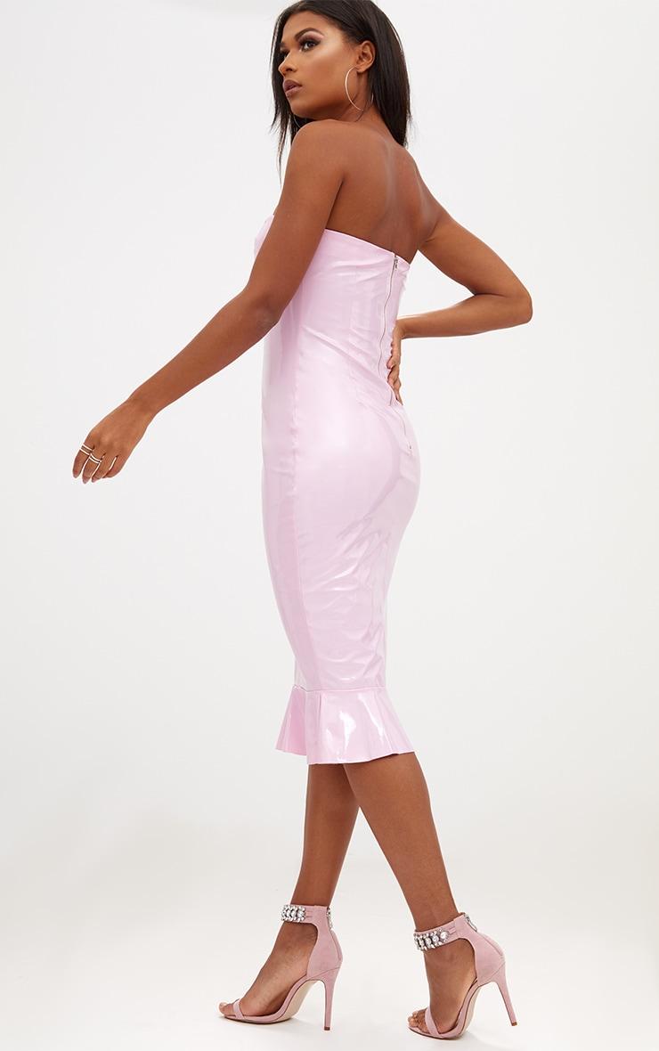 Pink PU Frill Hem Bodycon Dress  2