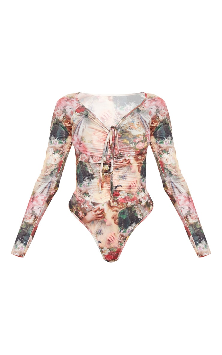 Multi Renaissance Printed Ruched Front Long Sleeve Bodysuit 3