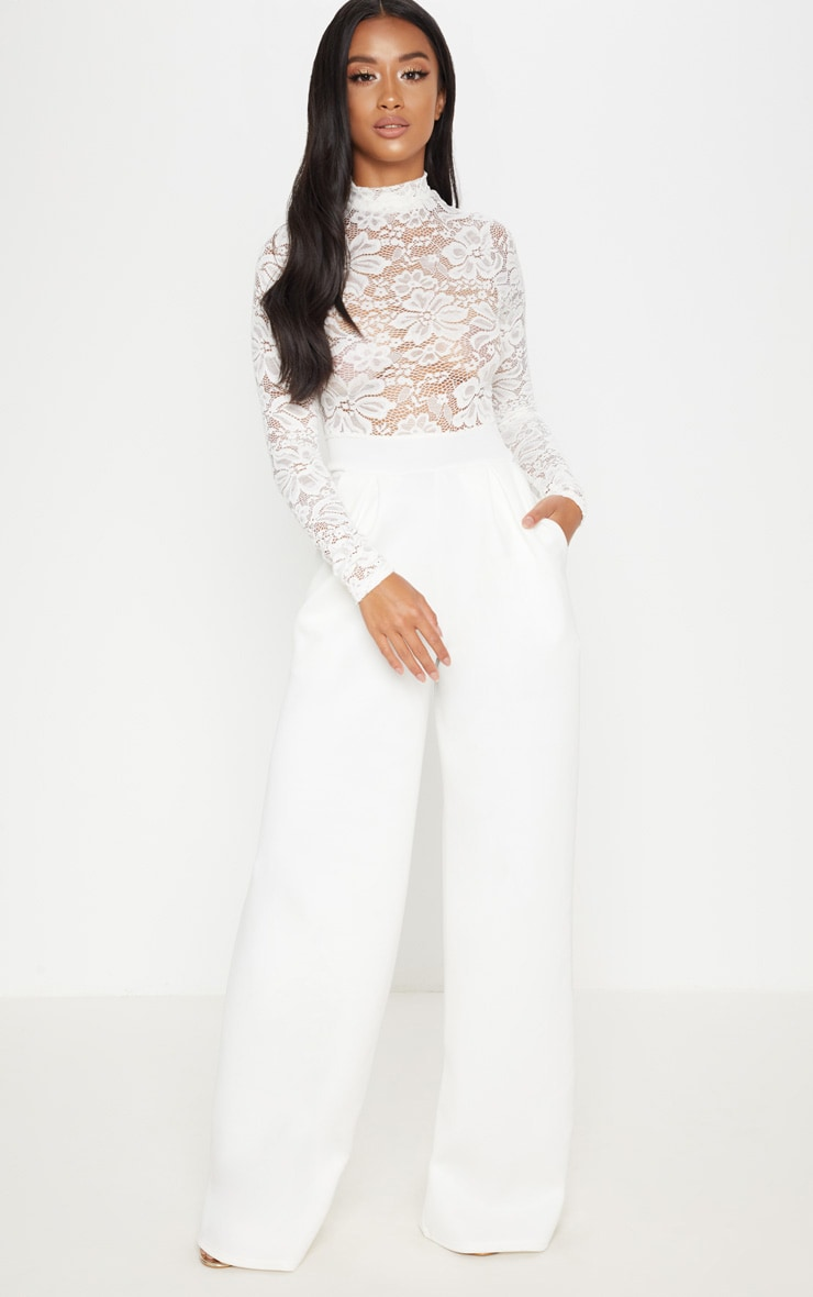 Petite White Lace High Neck Long Sleeve Jumpsuit 4