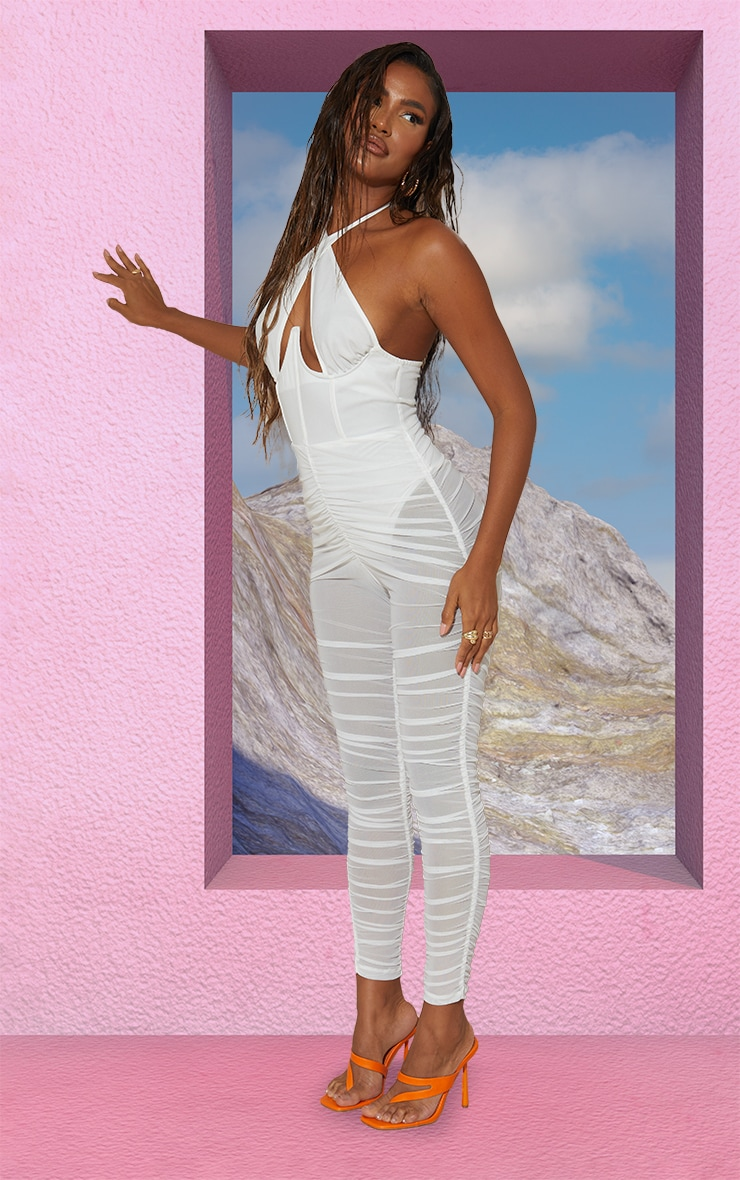 White Cross Bust Corset Mesh Ruched Jumpsuit 3