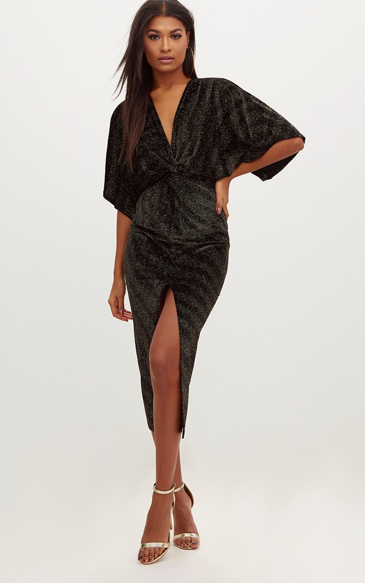 Black Plunge Batwing Sleeve Knotted Detail Midi Dress 1