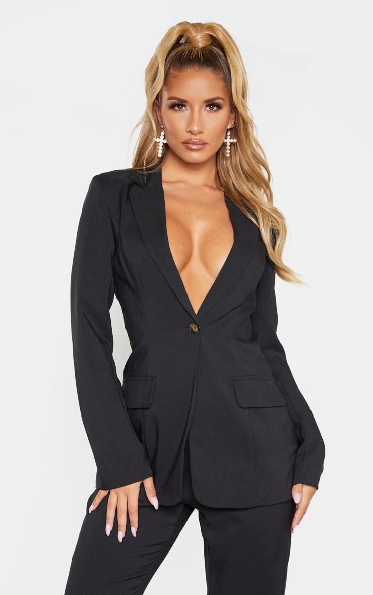 Black Structured Suit Woven Blazer    1