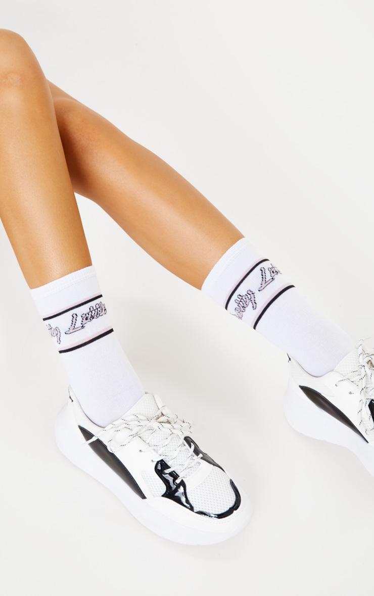 PRETTYLITTLETHING White Italic Pink Retro Socks 1