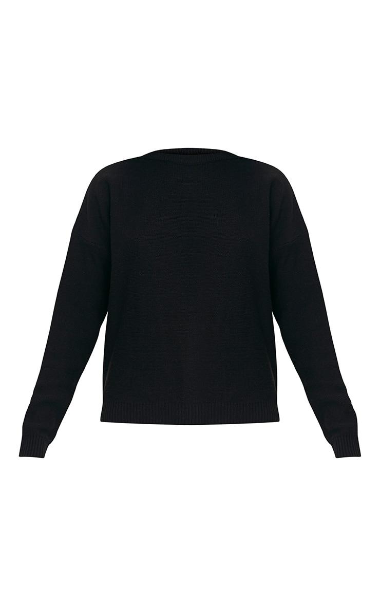 Roberta Black Round Neck Knitted Jumper 3