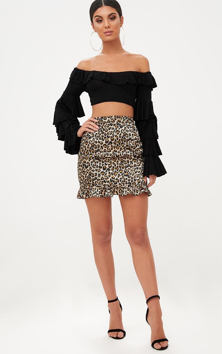 Brown Satin Leopard Print Frill Hem Mini Skirt 5