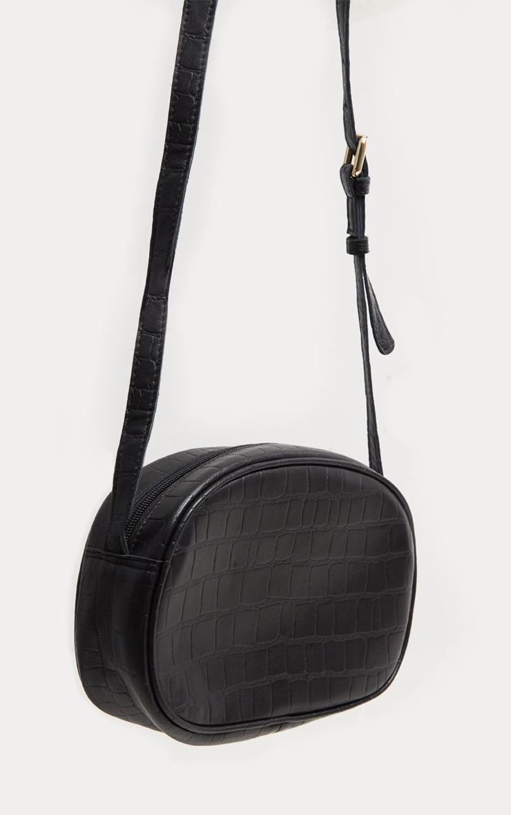 Black Real Leather Croc Cross Body Bag 2