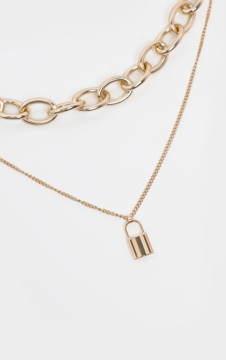 Gold Chunky Chain And Padlock Layering Necklace 3