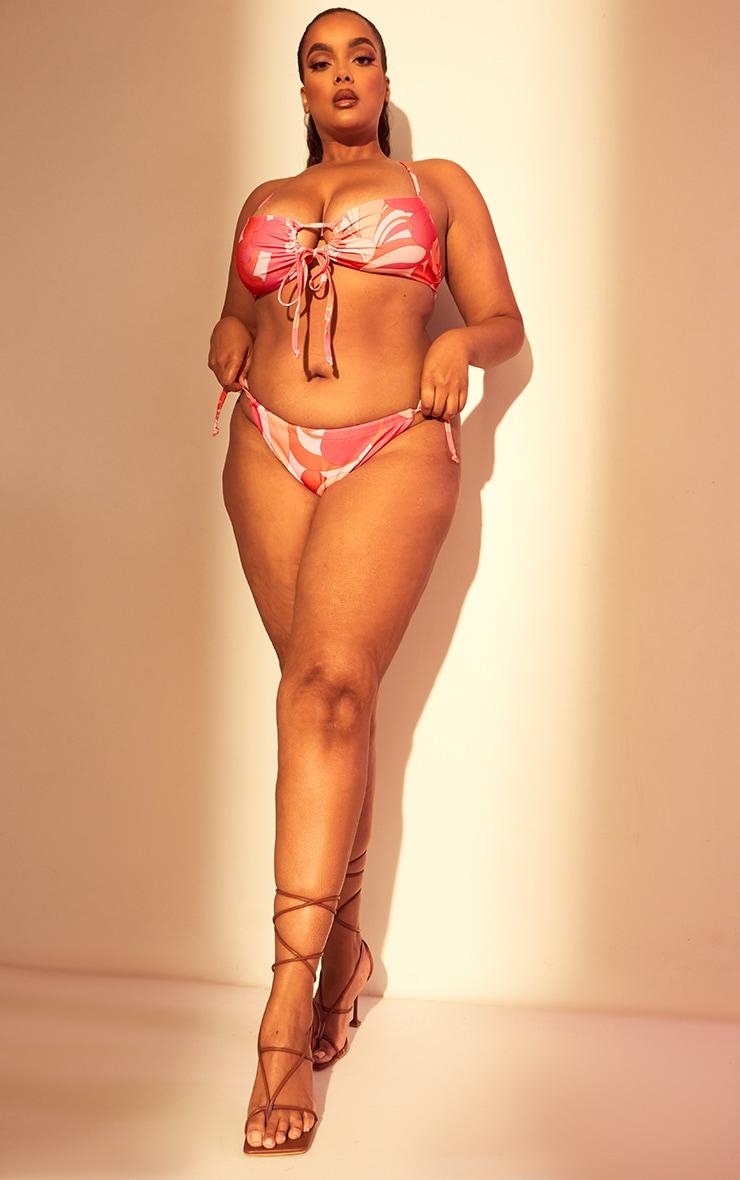 Plus Pink Floral Tie Bikini Bottoms 4