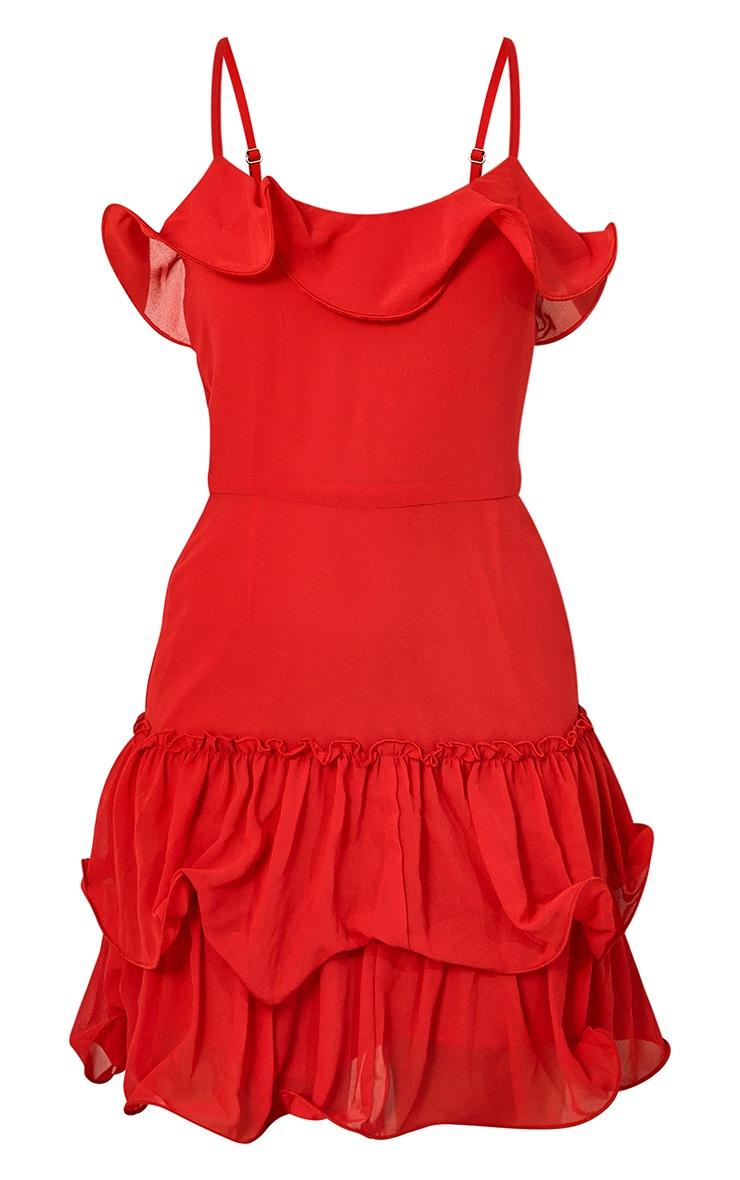 Red Chiffon Frill Hem Bodycon Dress 5