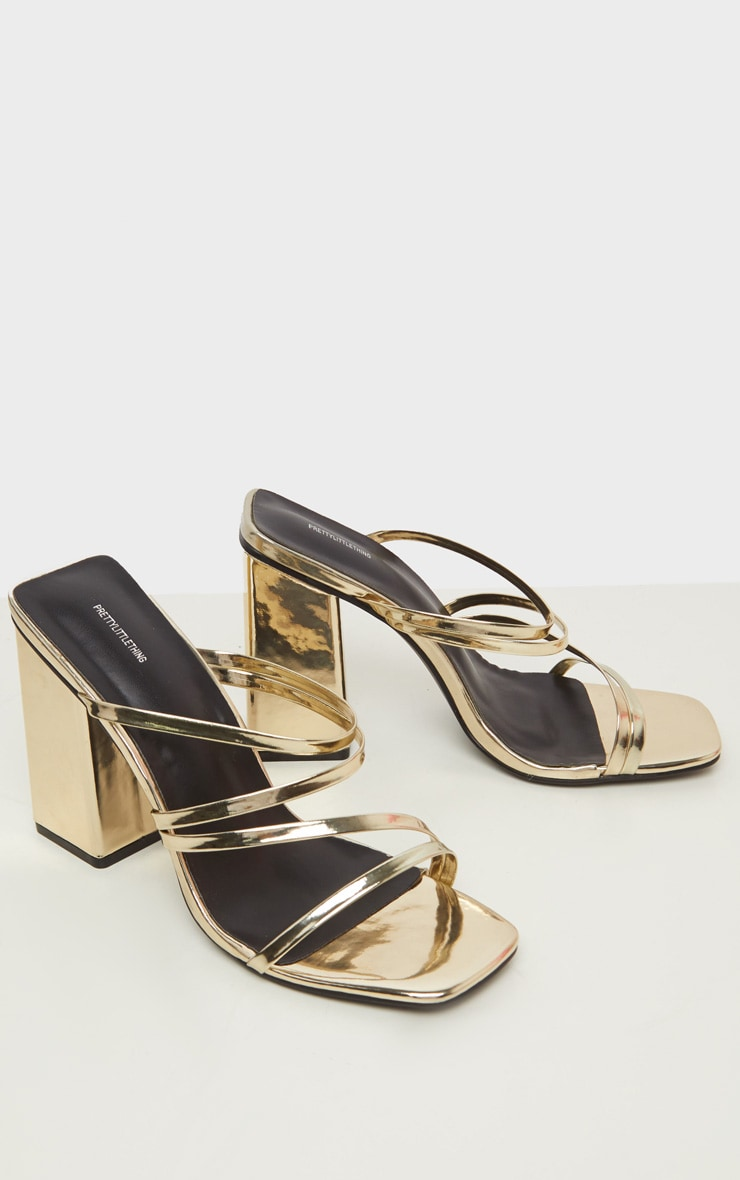 Gold Block Heel Strappy Mule Sandal 4
