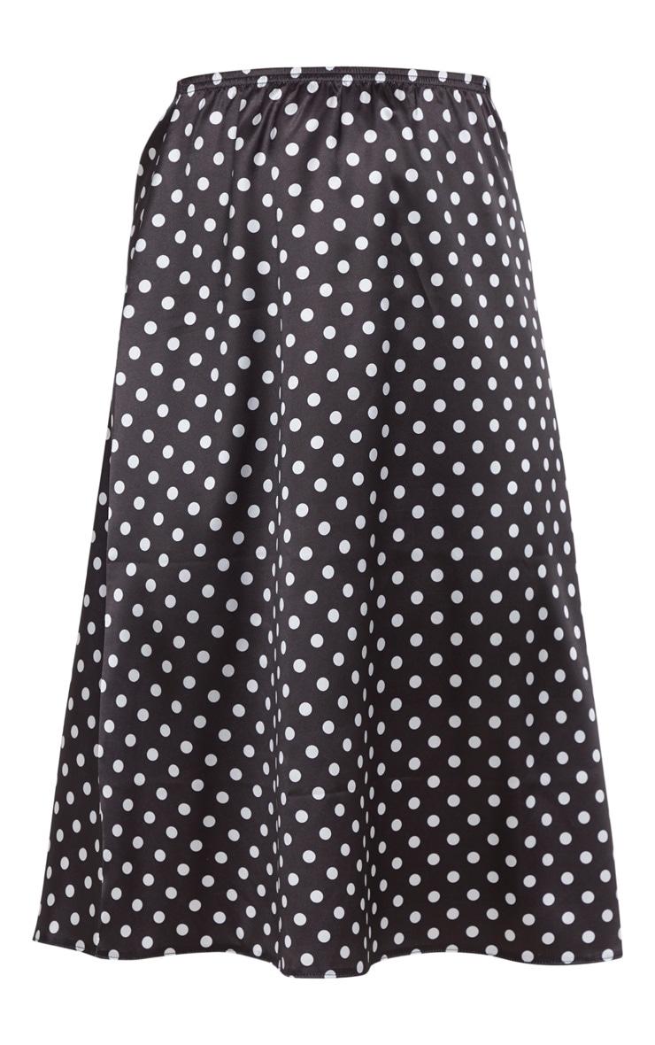 Black Satin Polka Dot Midi Skirt 3