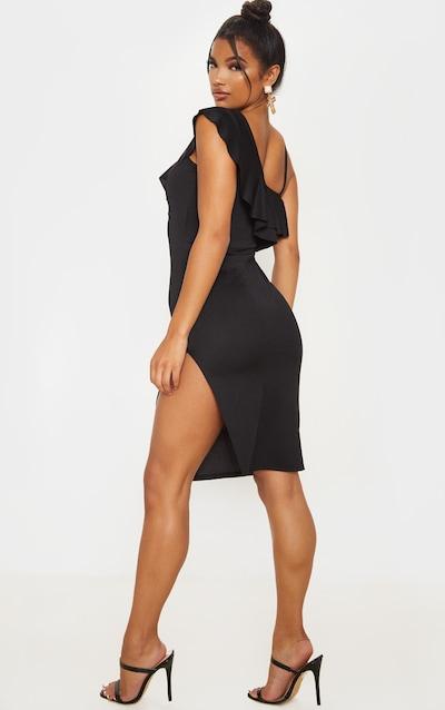 Black Frill Detail Strappy Midi Dress