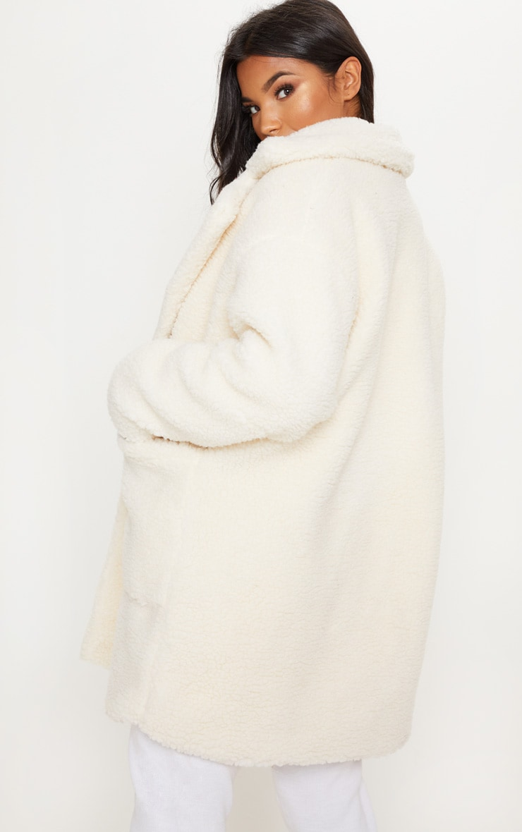 Cream  Borg Midi Coat  2