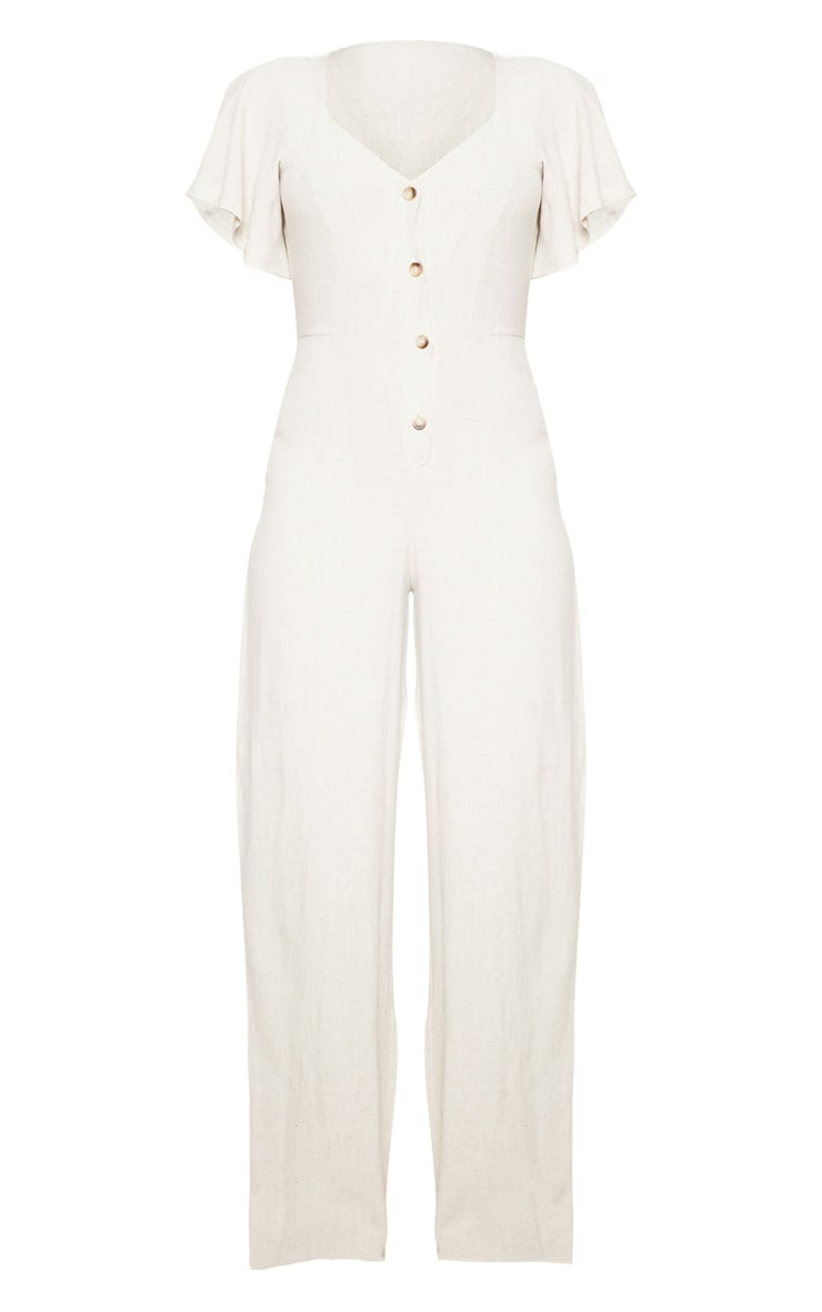 Stone Woven Frill Sleeve Wide Leg Jumpsuit 4