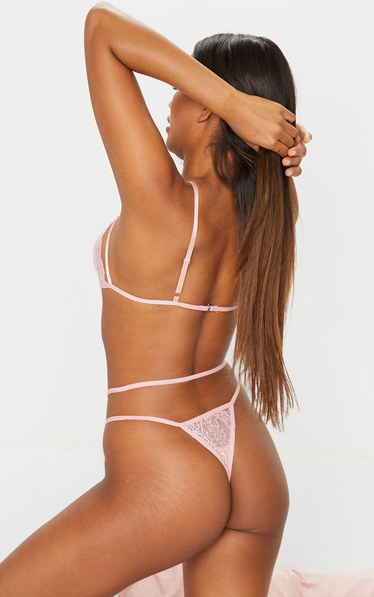 Blush Harness Lace Triangle Lingerie Set 2