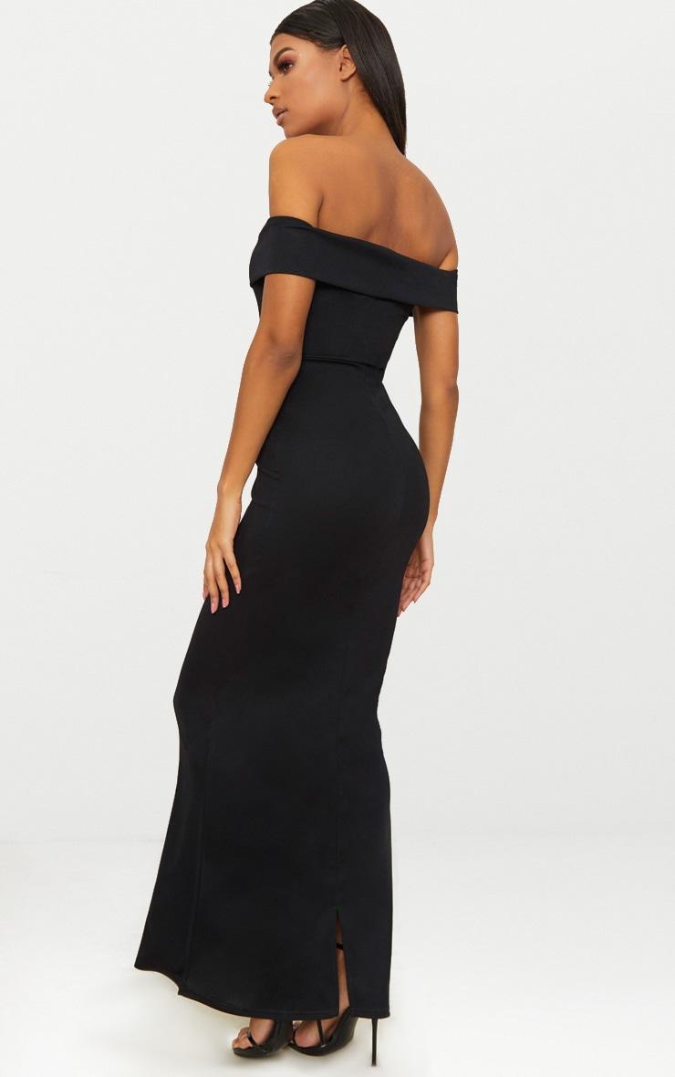 Black Bardot V Plunge Maxi Dress 2