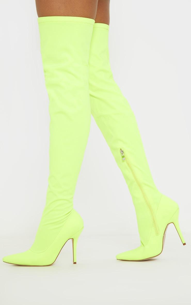 Neon Lime Thigh High Sock Boot 2