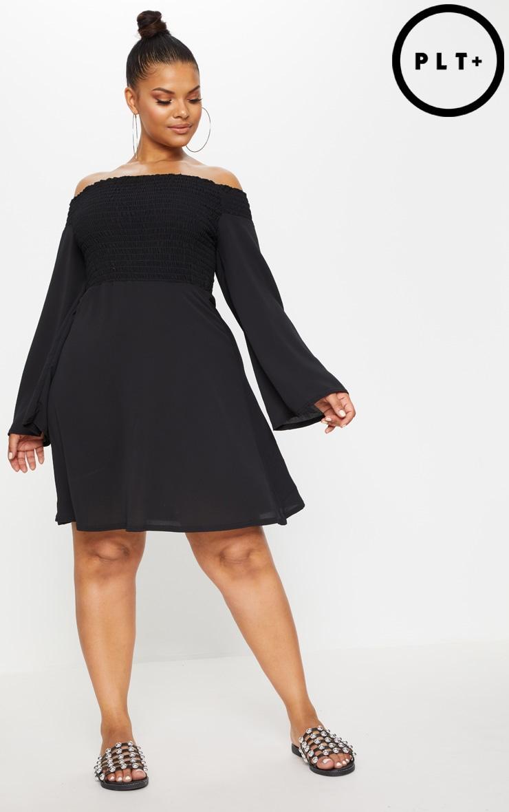 Plus Black Shirred Bardot Swing Dress 1