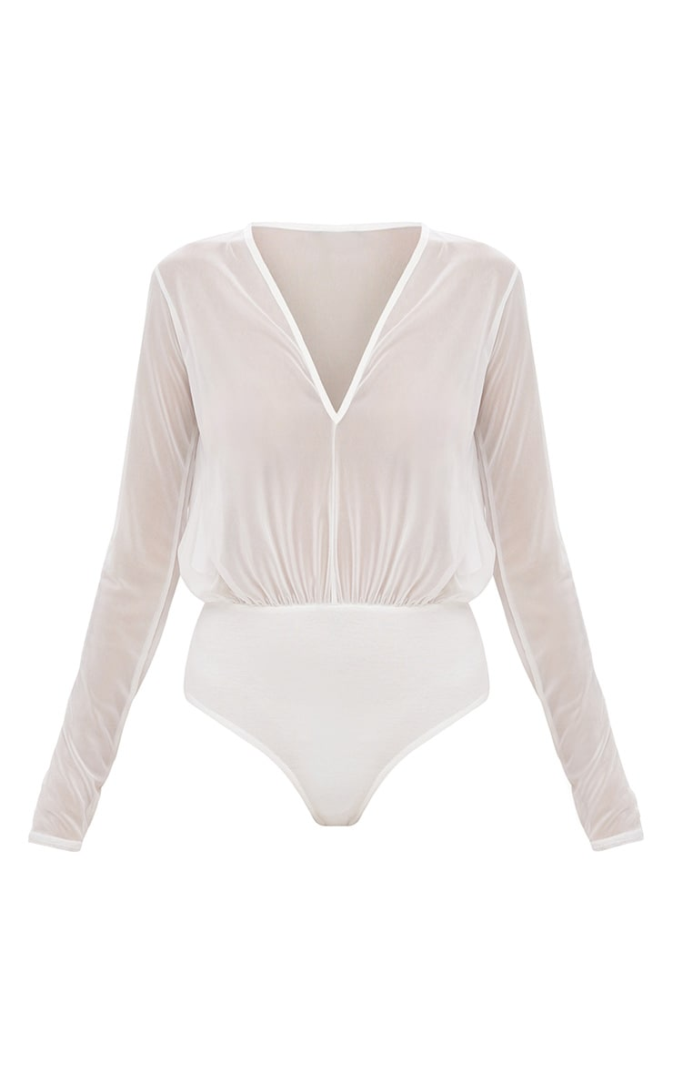 Cream Longsleeve Mesh V Neck Thong Bodysuit 3