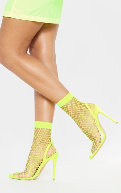Lime Fishnet Slingback Pointed Toe Heels 353be23f9a07
