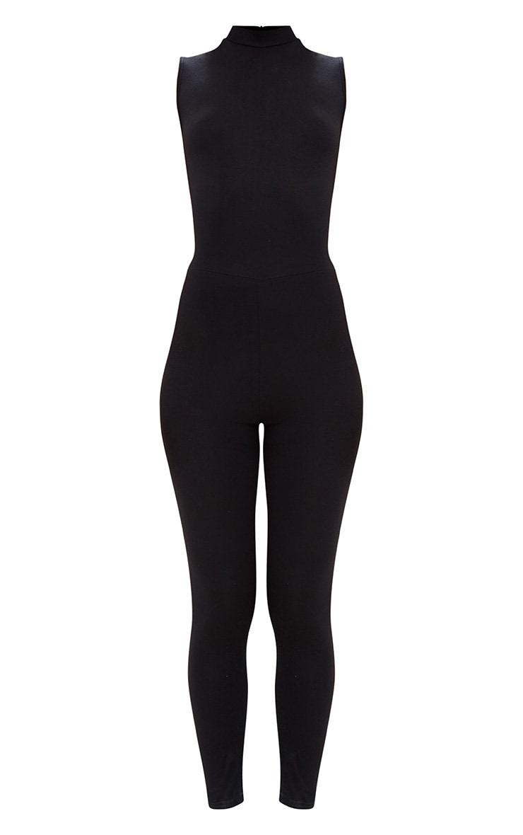 Black Jersey High Neck Jumpsuit 3