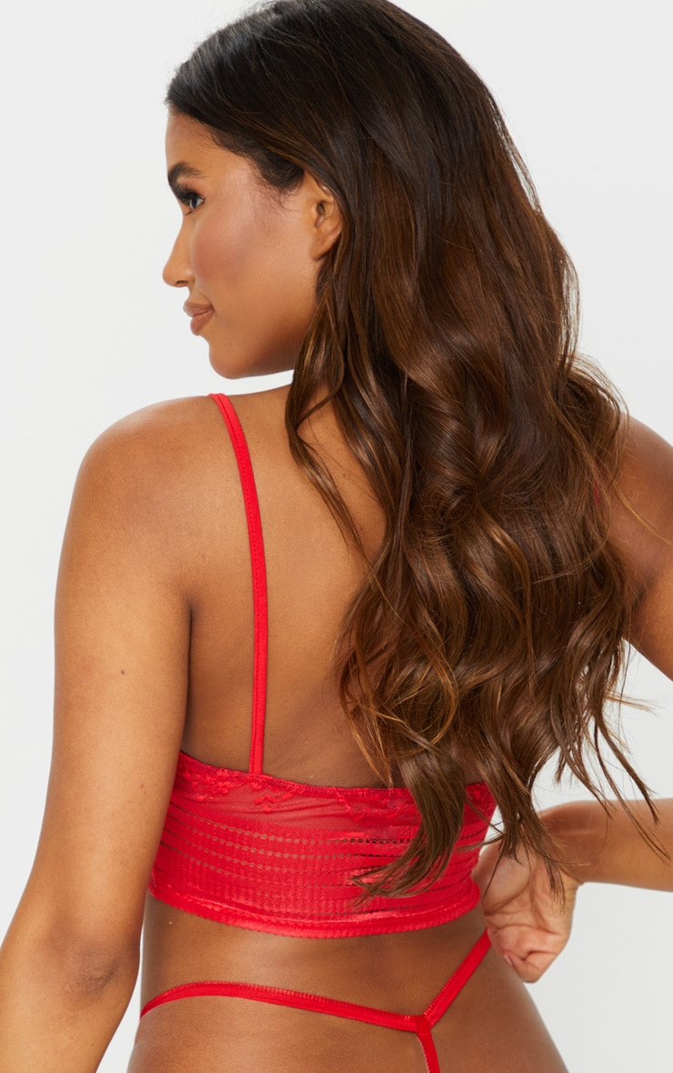 Red Lace Triangle Longline Bralet 2
