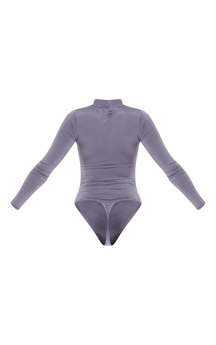 Charcoal Jersey Draped High Neck Bodysuit 6