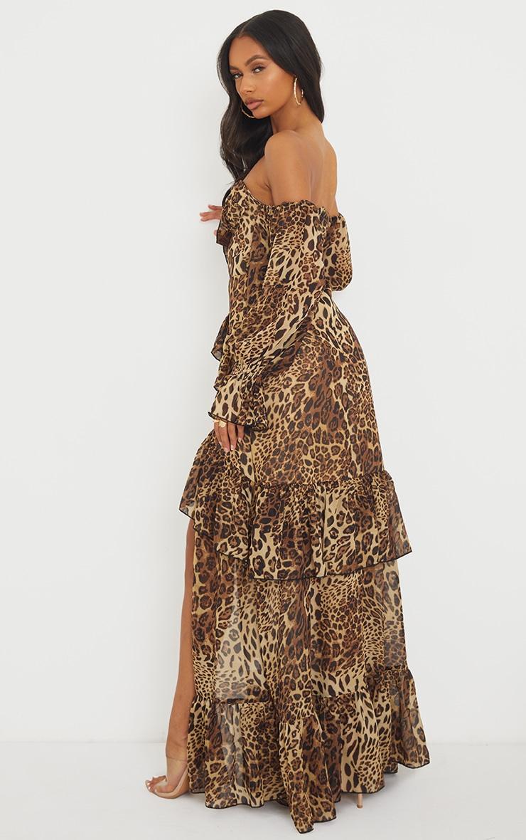 Tan Leopard Bardot Chiffon Cup Detail Maxi Dress 2