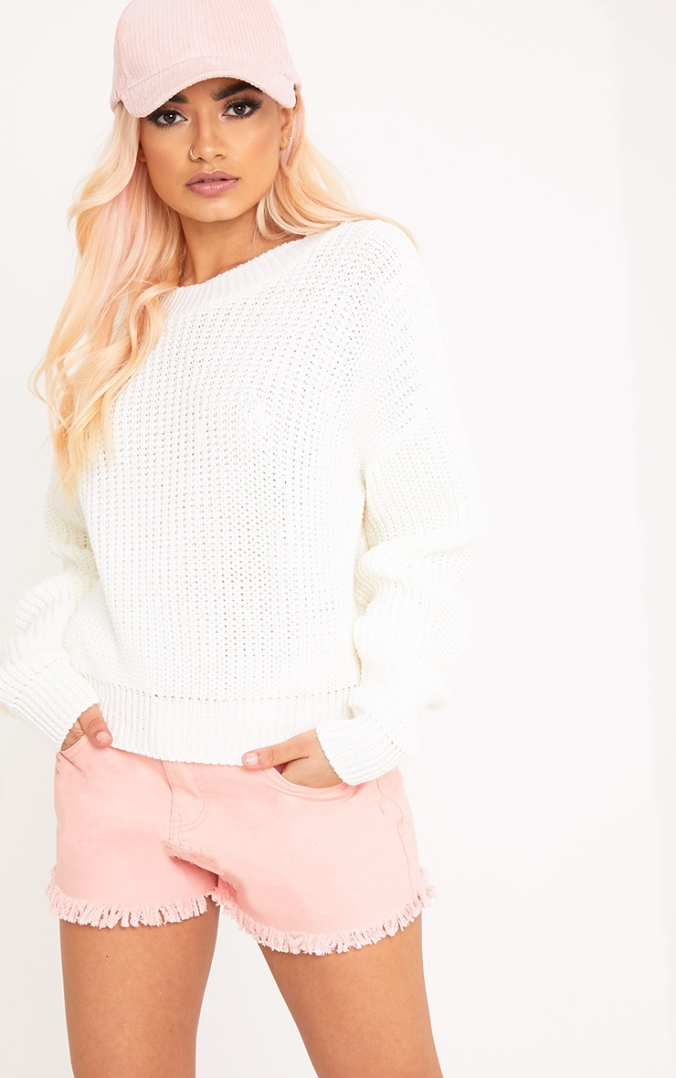 Cara Cream Cropped Knit Jumper 1