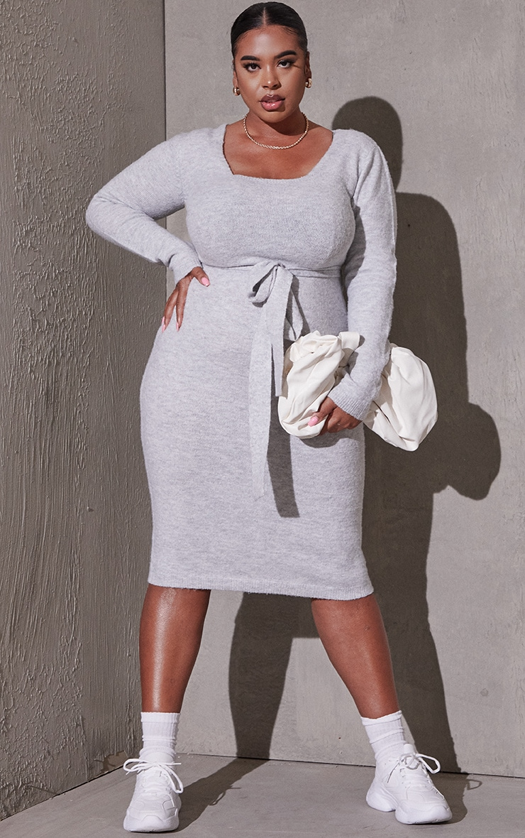 Plus Light Grey Recycled Belted Square Neck Knitted Midi Dress 3