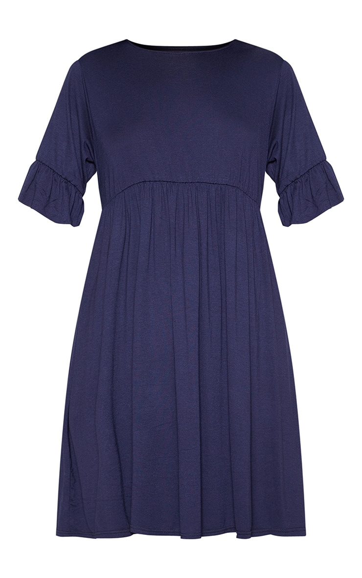 Navy Short Sleeve Smock Dress 3