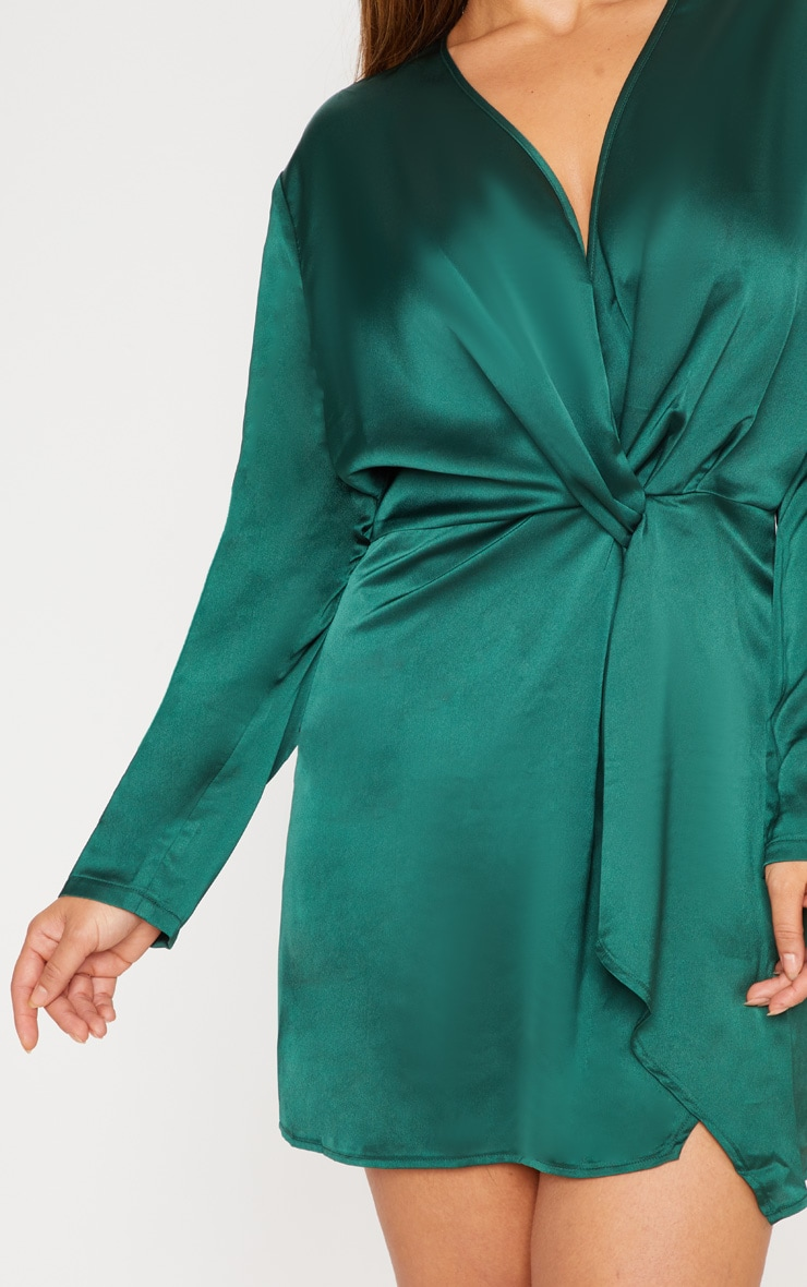 Plus Emerald Green Satin Long Sleeve Wrap Dress 4