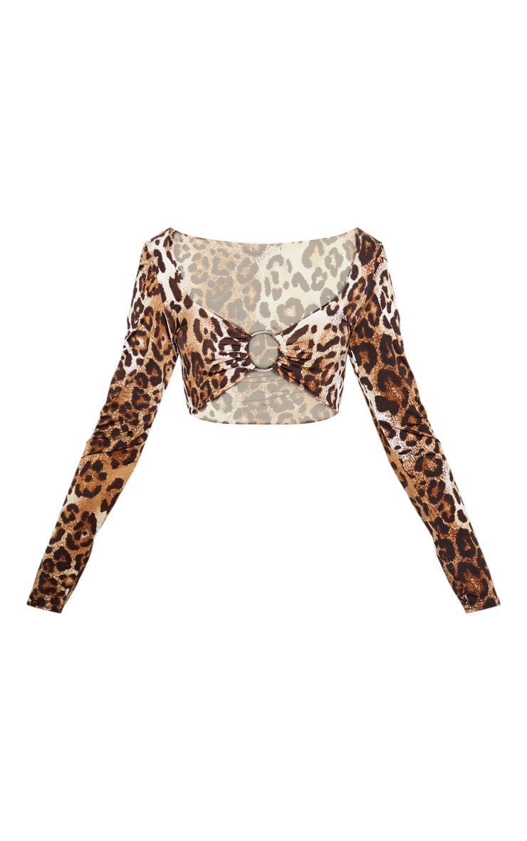 Tan Leopard Slinky O ring Long Sleeve Crop Top 3