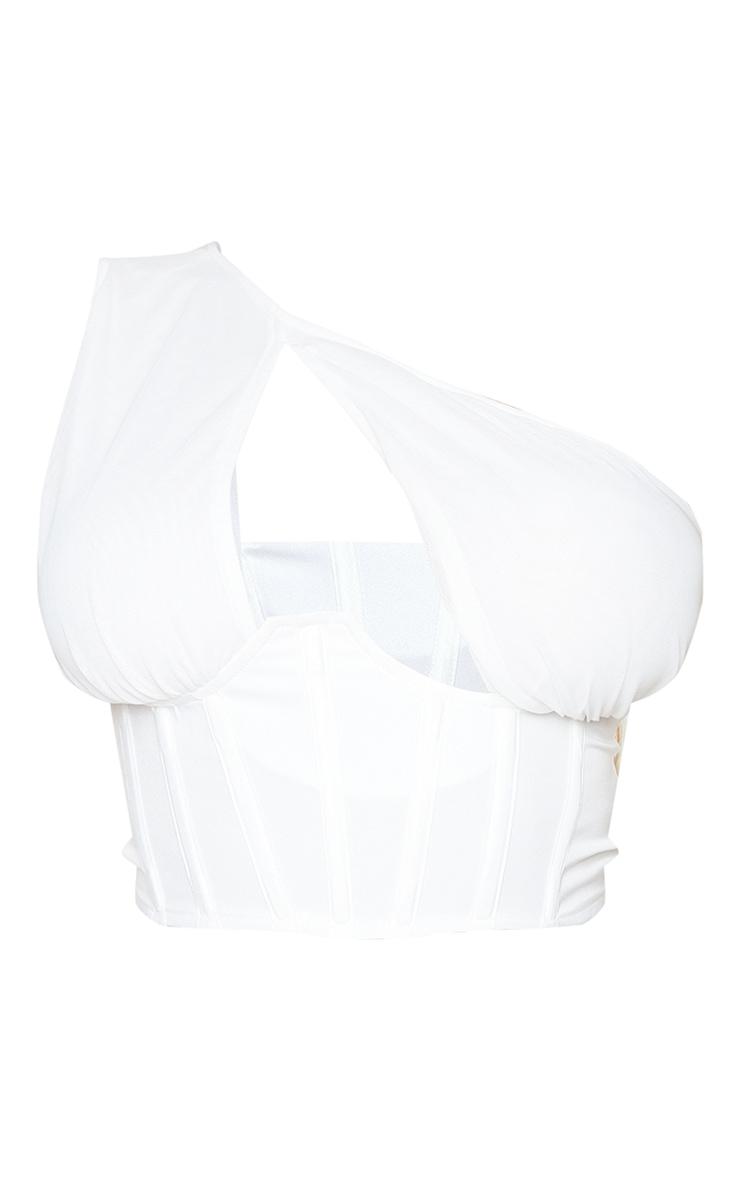 Shape Cream Mesh One Shoulder Corset Crop Top 5