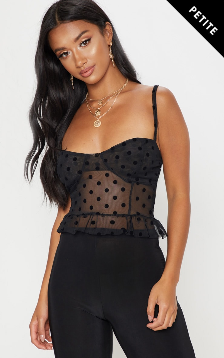 Petite Black Mesh Polka Dot Bralet Top 1