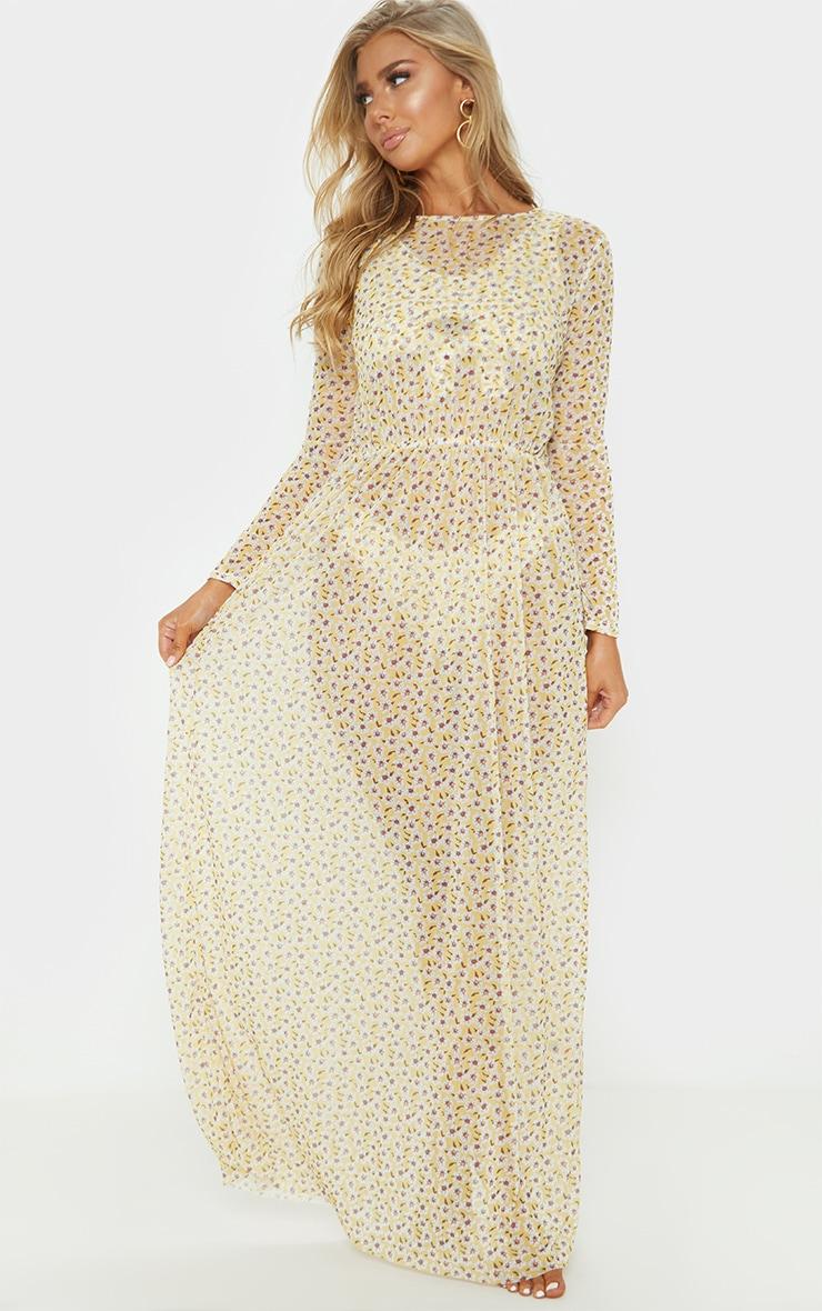Yellow Ditsy Daisy Long Sleeve Maxi Beach Dress 2