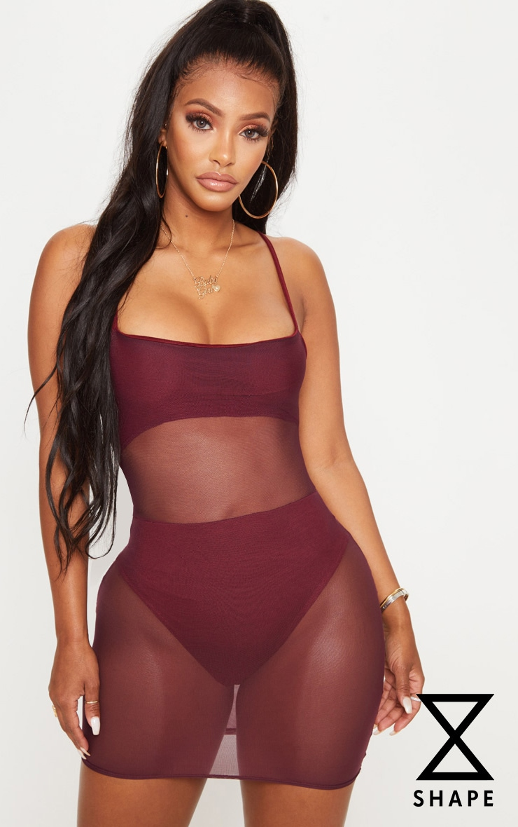 Shape Burgundy Mesh Panel Bodycon Dress 1
