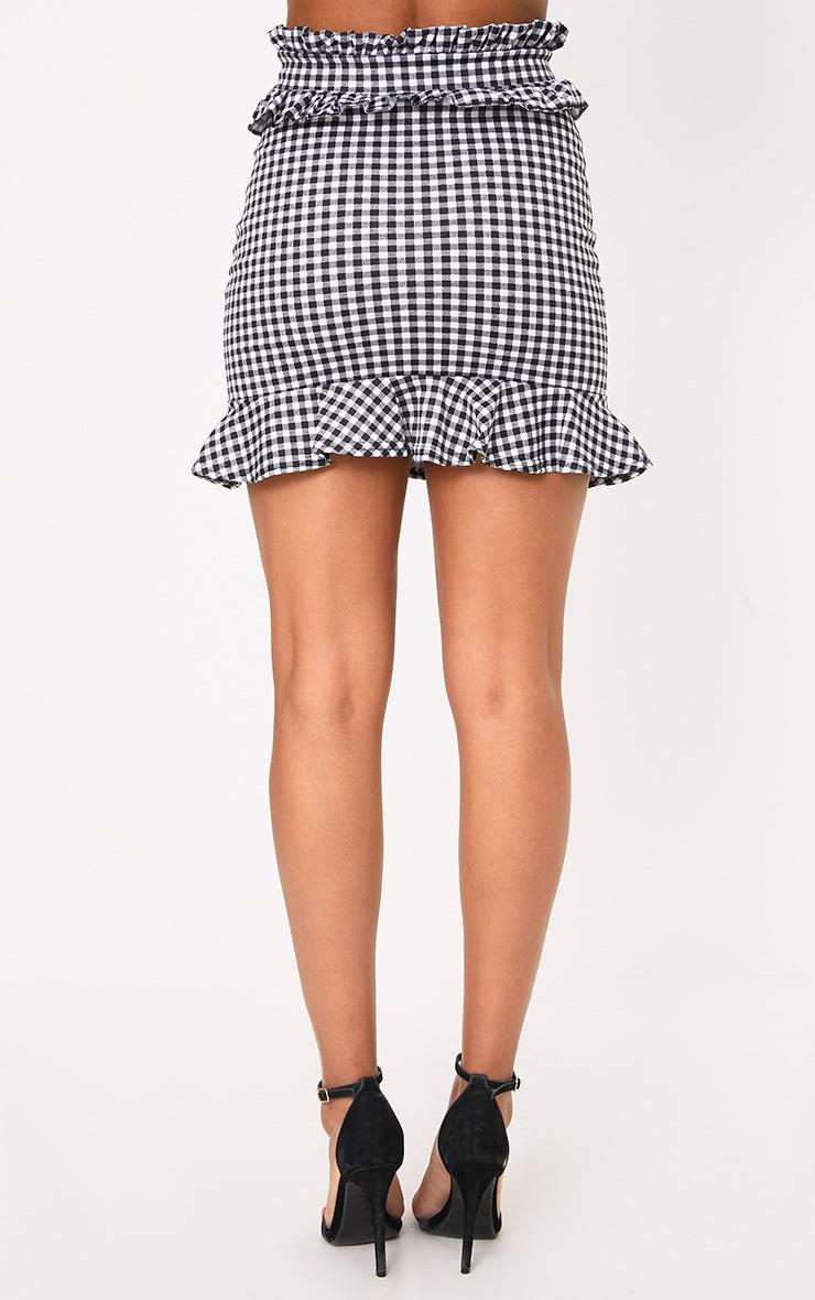 Black Gingham Frill Trim Mini Skirt 3