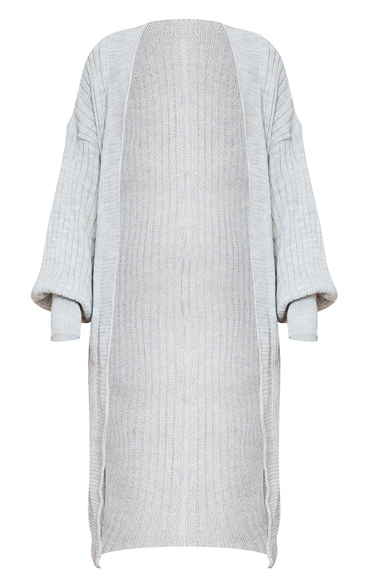 Grey Ribbed Knitted Midi Cardigan 5