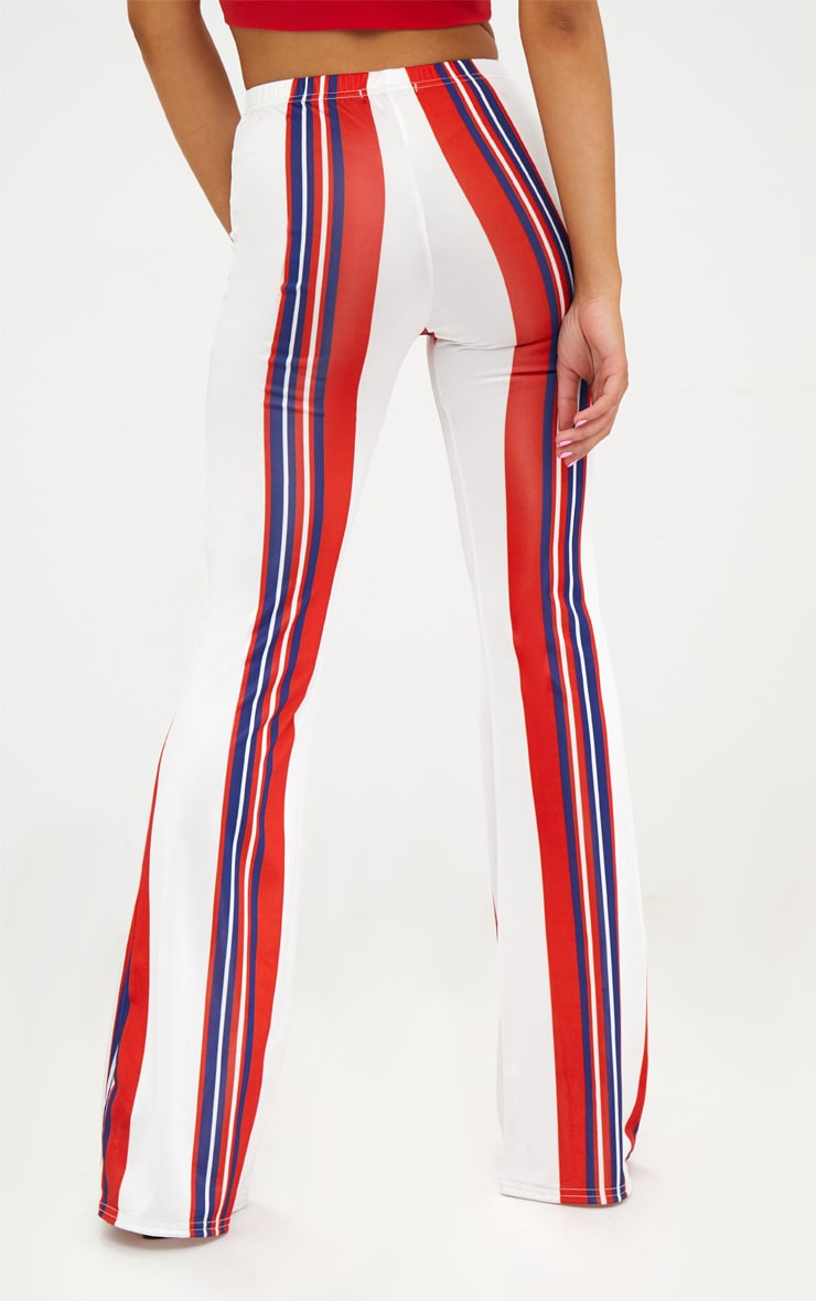 Petite Red Slinky Stripe Flared Trousers 4
