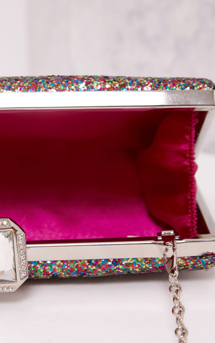 Dinnie Multi Glitter Box Clutch Bag 4