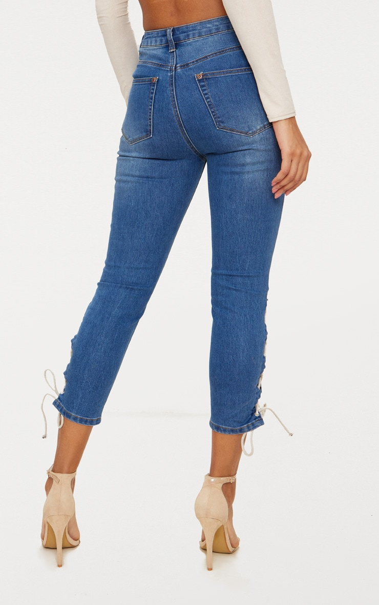 Mid Wash Tie Detail Cropped High Waisted Skinny Jean 3