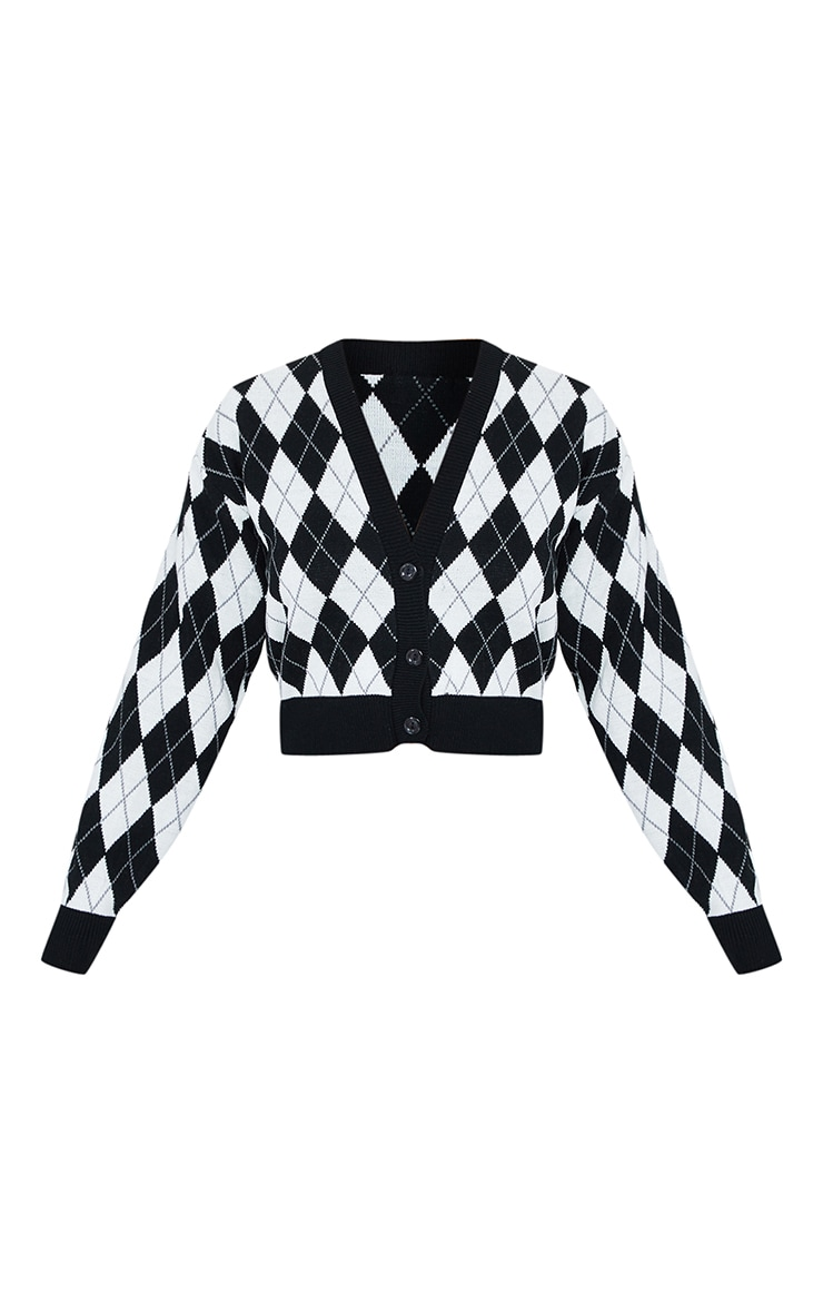 Monochrome Check Cropped Knitted Cardigan 5