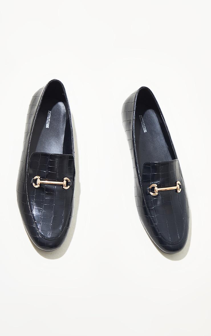 Black Metal Detail Flat Shoes 3