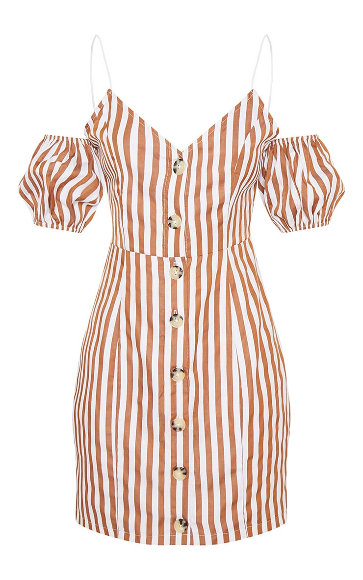 Brown Stripe Print Button Up Puff Sleeve Bodycon Dress 4