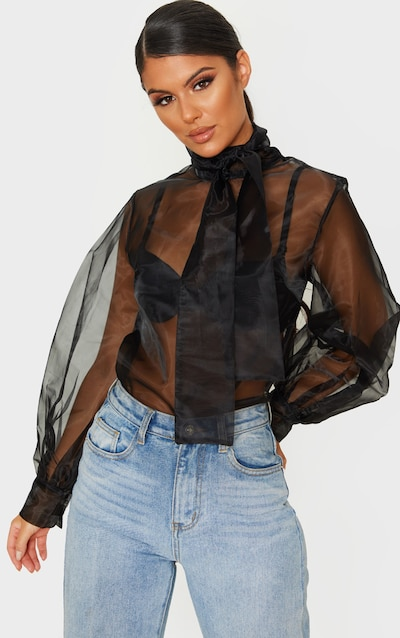 Black Sheer Organza Pussy Bow Puff Sleeve Blouse