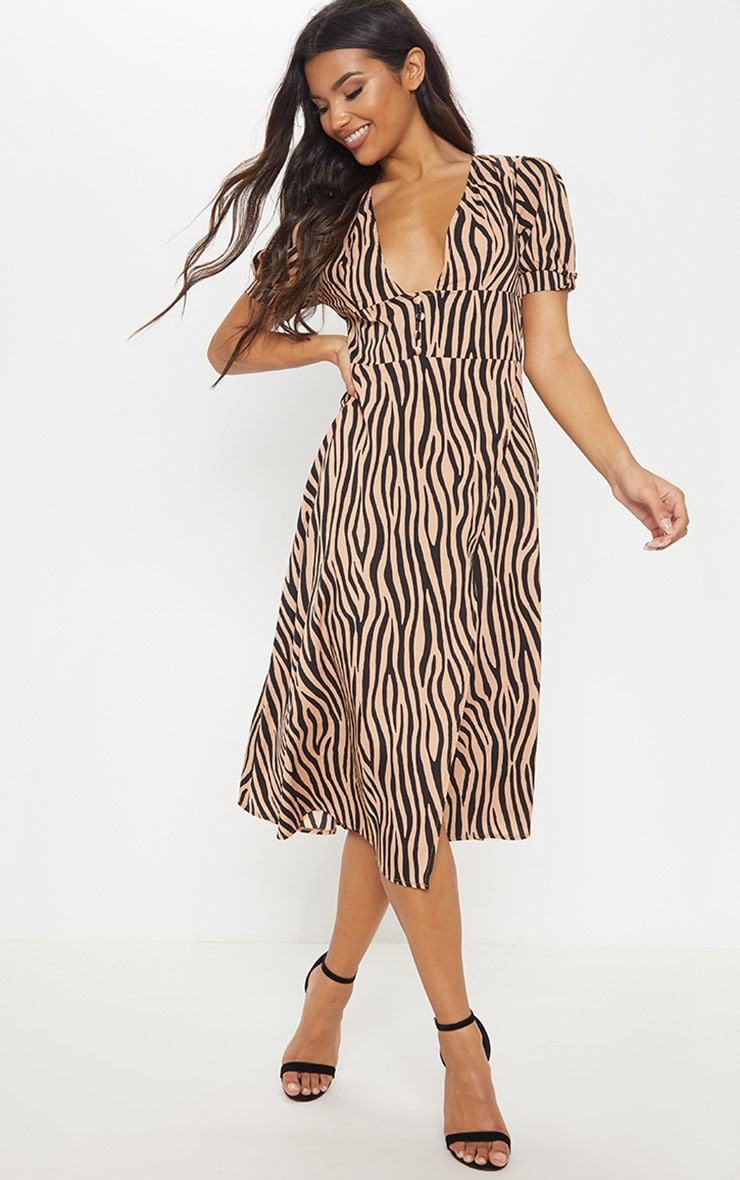 Beige Tiger Print Wrap Skirt Midi Dress 1