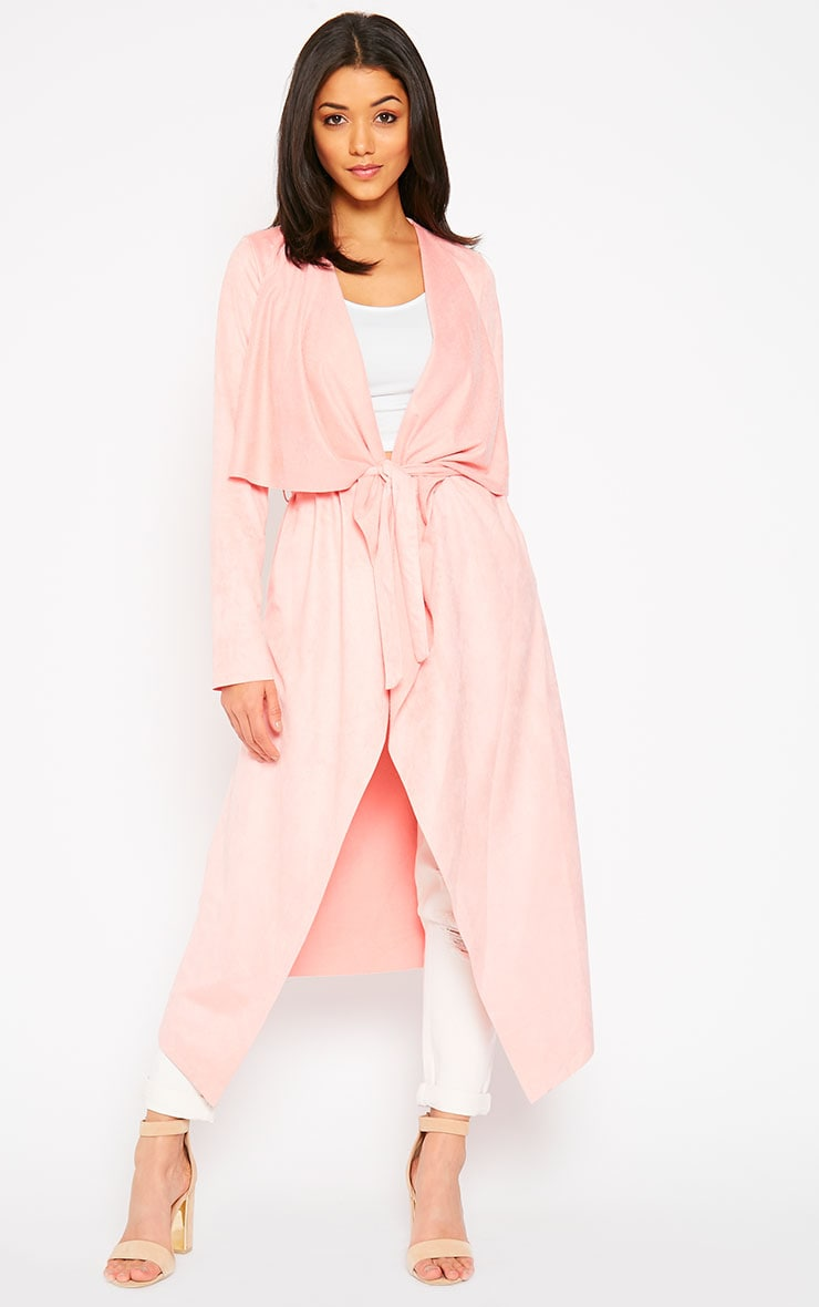 Liberty Baby Pink Suede Waterfall Coat 1
