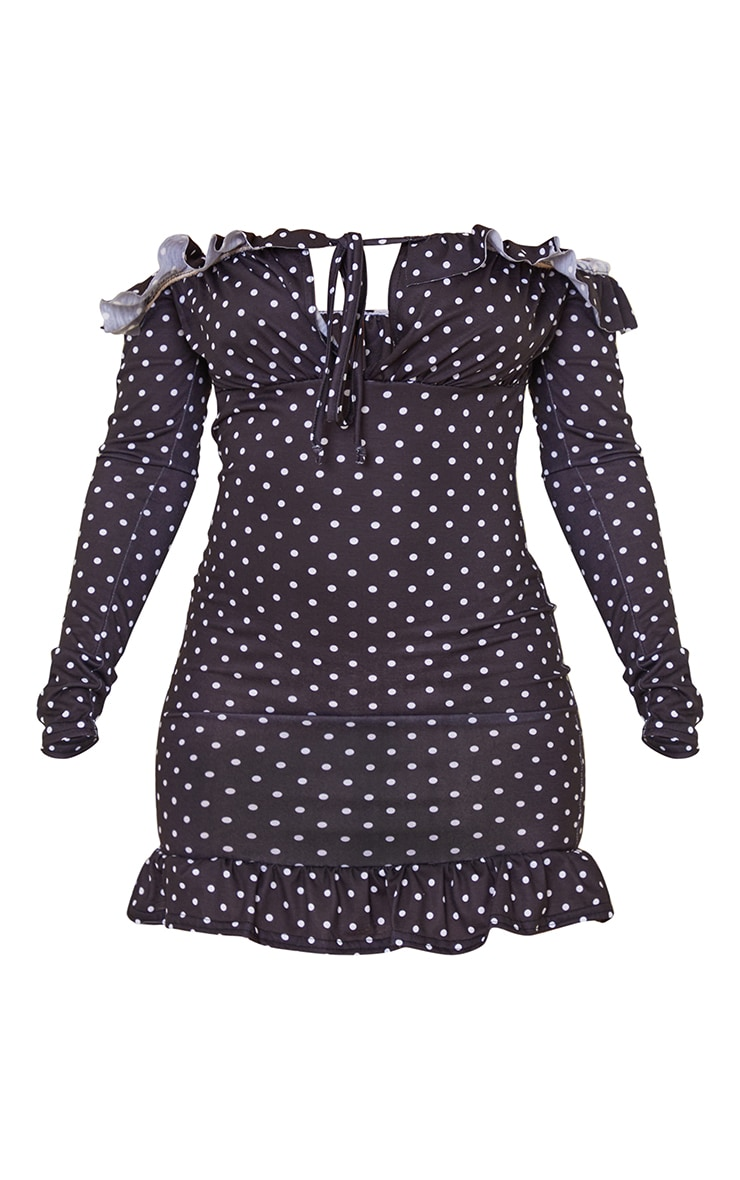 Black Polka Dot Print Frill Detail Tie Bust Bodycon Dress 5