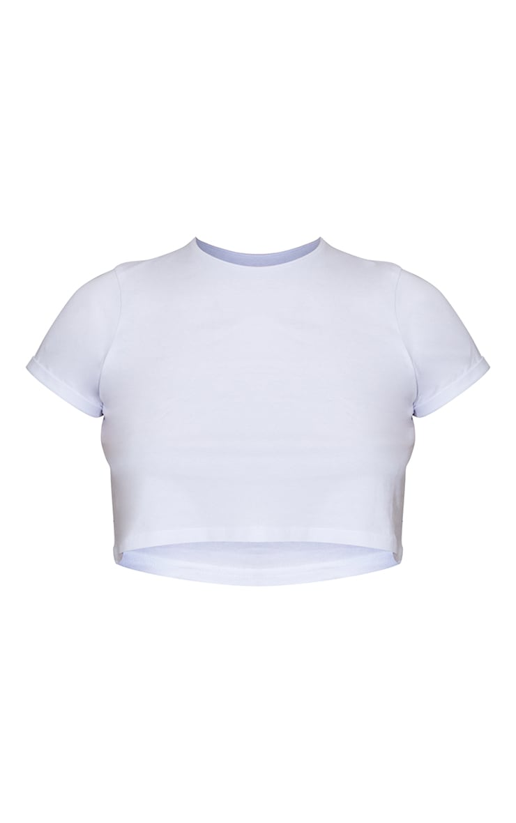 Basic Roll Sleeve White Crop Top 5